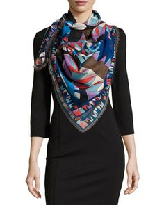 Niki Printed Woven Scarf, Blue by Emilio Pucci at Bergdorf Goodman.