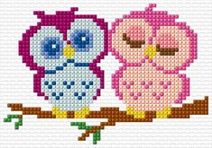 bead loom patterns for beginners Cross Stitch Owl, Small Cross Stitch, Cross Stitch Animals, Cross Stitching, Cross Stitch Embroidery, Hand Embroidery, Bead Loom Patterns, Beading Patterns, Embroidery Patterns