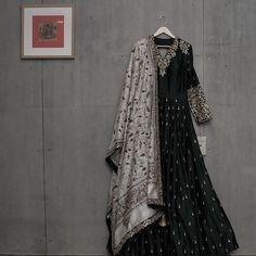 Matsya - Anarkali with Gota Patti and Kantha embroidery Indian Wedding Outfits, Pakistani Outfits, Indian Outfits, Indian Attire, Indian Wear, Indian Designer Outfits, Designer Dresses, Dress Outfits, Fashion Outfits