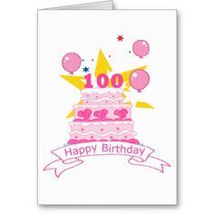 100 Year Old Birthday Cake Card