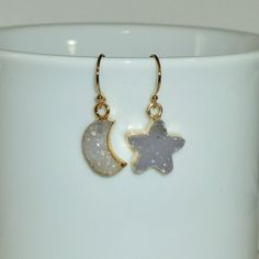Mismatched Druzy Moon and Star Earrings by DolphinMoonCreations #druzyearrings #celestialearrings #moonandstarjewelry