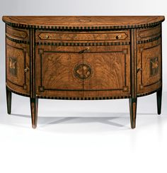 18th-century English style inlaid demilune cabinet