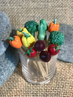 Toothpick Toppers//Food Picks//Cupcake Toppers//Handmade Vegetables//Polymer Clay Food//Dollhouse Miniatures//Party Picks//Kitchen Decor by VirginiaLagoArt on Etsy