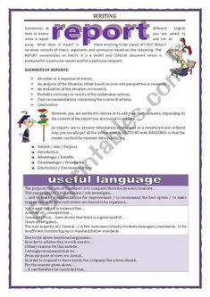 WRITING - REPORT - ESL worksheet by Keyeyti Report Writing Skills, Writing Test, English Writing Skills, Academic Writing, Basic Grammar, English Grammar, English Resources, Writing Worksheets, Creative Writing