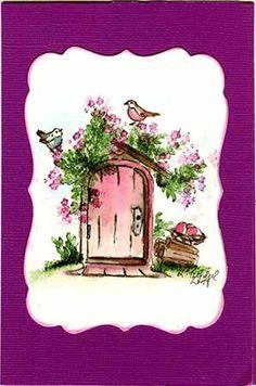 Art Impressions #4702 Wooden Door, # 4052 Flower Set, #4051 Foliage Set #4872 Birds Set, Handmade watercolor card.