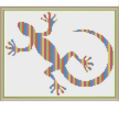"""Neon Needlework Newt - Counted Cross Stitch Pattern (X-Stitch PDF) Thanks for visiting my store! This cross-stitch pattern was personally and lovingly designed by me! This pattern uses the 6 DMC neon colors that are sold in the """"Light Effects Fluorescent Collection Floss Pack"""" available from many hobby stores (Joanns, Michaels, Walmart, etc). These colors are also easily available online. Of course, you could substitute any colors you like. The images above also show a couple of background…"""