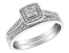 Diamond+Engagement+Ring+and+Wedding+Band+Set+1/3+Carat+(ctw)+in+10K+White+Gold