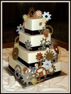 Amazing Wedding Cakes Steampunk | Steampunk Art Nouveau Wedding Cake: Gears and butterflies decorated my ...