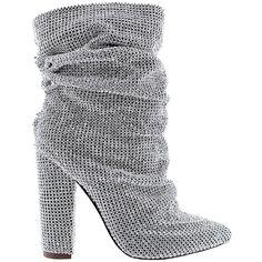 Liliana SAINT Gold Bling Rhinestone Covered Pointy Toe Block Heel Slouch Boot