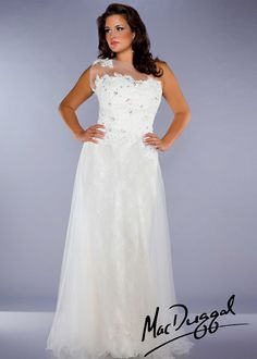 Mac Duggal 76426f Ivory Lace One Shoulder Plus Size Prom Dresses Online Thepromdresses