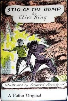 Ardizzone is particularly noted for having not just illustrated the  covers and contents of books but inking the title text and author's name in his own hand, giving the books a distinctive look on shelves. An example is Clive King's Stig of the Dump (1963).
