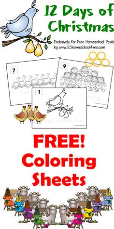 FREE! 12 Days of Christmas Coloring Sheets - perfect for toddler, preschool, and kindergarten kinds during December for Christmas