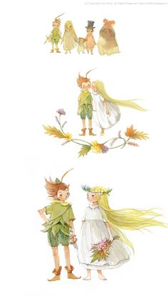 """Kim Min Ji, """"Peter Pan"""" illustrations.  Almost too good to be true.  Such wonderful depictions of Peter and Wendy--and I really like Nana, too. :D"""
