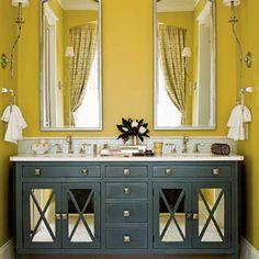 Bathroom Interior Design Ideas - Bathroom: Classic And Modern Art Deco Bathroom Ideas, Art Deco Yellow Bathroom Interior Sophisticated Design Ideas