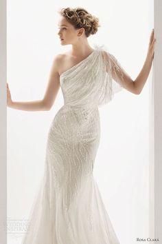 One Shoulder Wedding Dress   Wedding Dress -- oddly I rather like this one