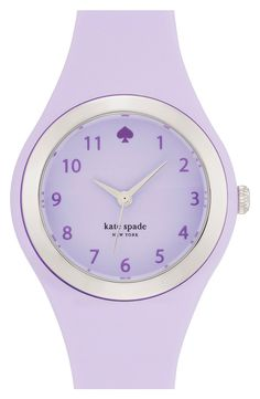 Pairing this lavender Kate Spade watch with silver bracelets for a complete stacked wrist.