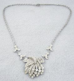 Coro 1930's Rhinestone Bow Necklace - Garden Party Collection Vintage Jewelry