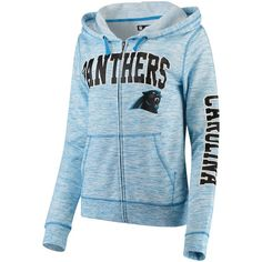 Women s Carolina Panthers 5th   Ocean by New Era Blue Athletic Space Dye  Full-Zip Hoodie 9457f084a