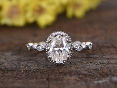 1.5 Carat Moissanite Oval Engagement Rings Diamond 14k White Gold Retro Vintage Art Deco Full Eternity Band
