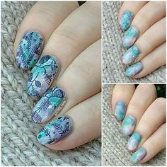Gorgeous winter nails from knitty_nails on instagram, using Messy Mansion christmas foilage plate MM79XL Winter is still here! #messymansion #doublestamping #mynailsandmygloves #manicollage #manievolution