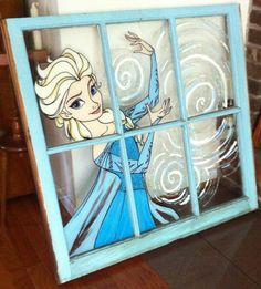 Painted Elsa Window by darthmer-mer on deviantART Frozen 2, Frozen Theme, Disney Crafts, Disney Art, Bedroom Themes, Girls Bedroom, Bedroom Ideas, Frozen Room Decor, Wood Animals