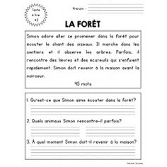 10 compréhensions de lecture - 1ère année French Language Lessons, French Lessons, How To Speak French, Learn French, Teaching French Immersion, French Worksheets, French Verbs, French Resources, French Class