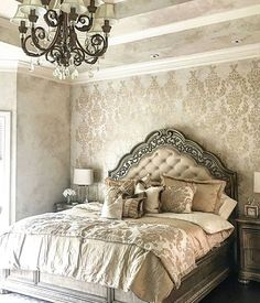 Where Would You Use The Verde Damask Stencil? Christina Jones Used This  Gorgeous Pattern To Create A Wallpaper Look On This Bedroom Accent Wall