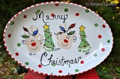 Baby Handprint / Footprint Christmas plate. by Ajcrum06