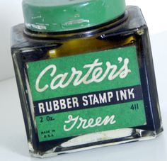 Vintage Glass Bottle Carter's Rubber Stamp Ink Green Cool Old Square Thick Bottle Industrial Office Decor by OffbeatAvenue on Etsy