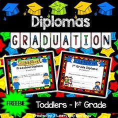 I hope you enjoy these Freebie diplomas! Graduation diplomas for your little ones will make their graduation day special. These are just a few of the designs included in our complete programs. The end of year is so busy! If you are putting on a grad Pre K Graduation, Graduation Theme, Kindergarten Graduation, Graduation Shirts, Preschool Programs, Preschool Themes, Preschool Kindergarten, First Grade Freebies, Teaching Letters