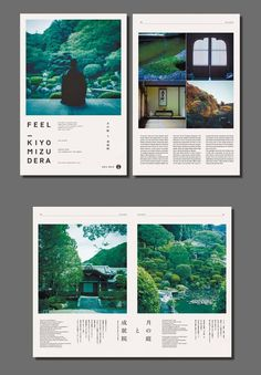 The photos here are breathtaking. The grid-based layout on the second page organizes the photos and text for maximum impact, guiding the eye smoothly around the page. The design makes the most of the white space in an artistic, and logical presentation.: