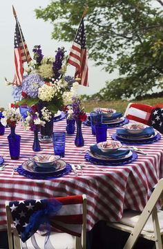 Beautiful Patriotic Party Al Fresco' Fourth Of July Decor, 4th Of July Celebration, 4th Of July Decorations, 4th Of July Party, July 4th, Table Decorations, Americana Decorations, Centerpiece Ideas, Centerpieces