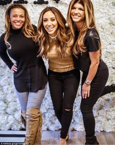 Boss is back: Melissa Gorga officially reopened her Envy boutique on Saturday on 609 Bloomfield Ave, Montclair as she was joined by Real Housewives Of New Jersey co-stars Teresa Giudice (right) and Dolores Catania (left)