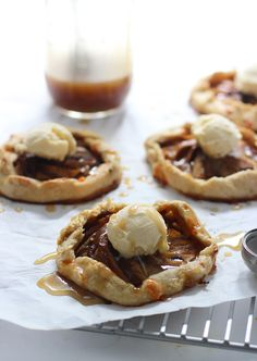 Individual Apple Galettes with Caramel Sauce and Vanilla Ice Cream
