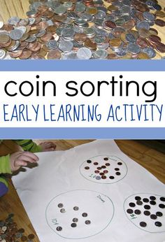 Sorting Activity for Kids Coin sorting is super easy kid entertainment!Coin sorting is super easy kid entertainment! Maths Eyfs, Numeracy Activities, Money Activities, Early Learning Activities, Nursery Activities, Kindergarten Activities, Activities For Kids, Money Crafts For Preschoolers, Indoor Activities