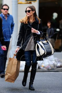 Fall's It Boot: Stuart Weitzman Leather Over The Knee Boots, Leather Riding Boots, Stuart Weitzman, Biker Style, Casual Street Style, Blue Suede, Jeans, Casual Wear, Winter Fashion