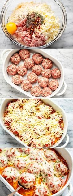 Cheesy Meatballs Casserole {Low Carb} - - Looking for a great low carb dinner option? This low carb turkey meatball casserole recipe is absolutely fabulous. - by food recipes meals Cheesy Meatballs Casserole {Low Carb} Turkey Meatball Casserole Recipe, Meatball Recipes, Meatball Meals, Meatball Bake, Hamburger Casserole, Cheesy Meatballs, Low Carb Meatballs Recipe, Recipes With Meatballs, Dinner With Meatballs