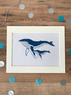Humpback Whale and calf Lino print / marine mammal art blue ocean bathroom print - With 8*10 mount