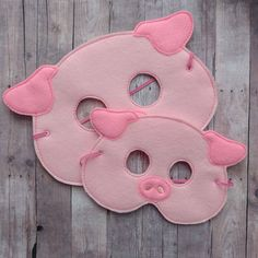Pig Felt Mask in 2 Sizes, Elastic Back, Pink Acrylic Felt with Pink Embroidery, Halloween Costume Ma Pig Mask, Felt Mask, Fancy Dress For Kids, Felt Owls, Three Little Pigs, Pink Acrylics, Animal Masks, Farm Theme, Cat Friendly Home