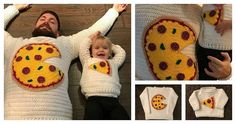 Tutorial >> DIY Crochet Pizza Pie Sweater for 2