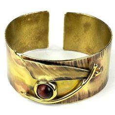 Blade & Red Tiger Eye Brass Cuff - Brass Images (C)