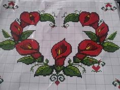 Create A Board, Filet Crochet, Cross Stitch Patterns, Fair Isles, Flowers, Ideas, Xmas Cross Stitch, Cross Stitch Flowers, Painting On Fabric