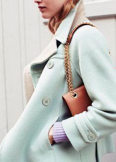 A pastel coat that makes a statement.