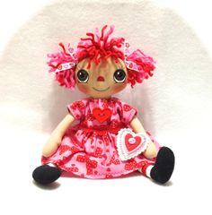 Primitive Raggedy Ann Doll Valentine Hearts by cottoncandydolls, $35.00