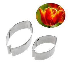 1.01€ 2 unids tulipanes flower shape fondant molde cortador de galletas de acero inoxidable herramienta de la torta de diy caramelo galleta de la jalea para hornear pasteles molde