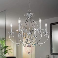 Kromfarget CARAT lysekrone med seks lys | Lampegiganten.no Prop Design, W Hotel, Led Lamp, Chandelier, Adele, Ceiling Lights, Pure Products, Lighting, Elegant