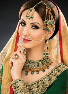 Indian bridal jewelry and makeup.green