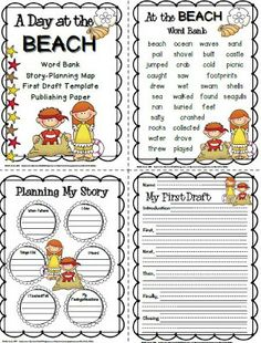 "I just completed a cute ""A Day at the Beach"" writing pack for one of my students who will be out for a week on independent study."