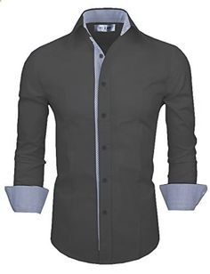 Tom's Ware Mens Casual Slim Fit Inner Striped Longsleeve Shirt TW048S-D.GRAY-US L  Go to the website to read more description.