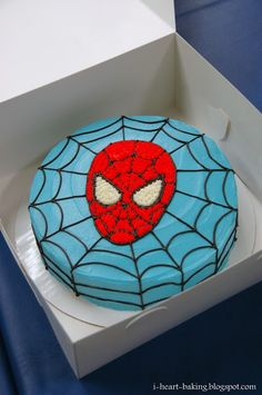 To celebrate my son Matthew& birthday, I made him a Spiderman birthday cake to go along with the Spiderman cookies that I made as. Spiderman Torte, Spiderman Cookies, Spiderman Birthday Cake, Superhero Cake, Superhero Birthday Party, Boy Birthday, Birthday Parties, Birthday Ideas, Spiderman Face